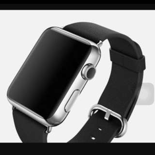 Brand New 38mm Apple Watch Stainless Steel 1st Gen Black Leather Crystal Sapphire Ceramic Black Sealed