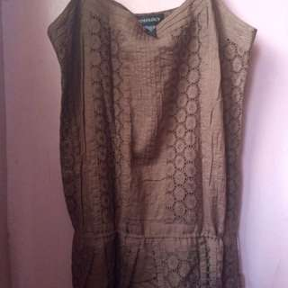 Brown Patterned Spaghetti Strapped Blouse