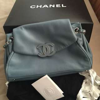Original Limited Edition Chanel Light Blue Lambskin Bag
