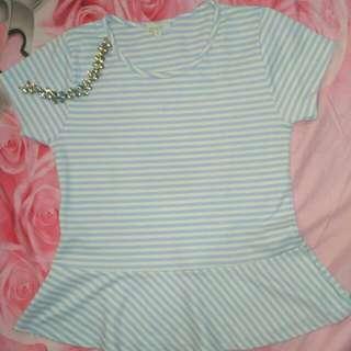 Kaos T Shirt Detail Size M Stripes
