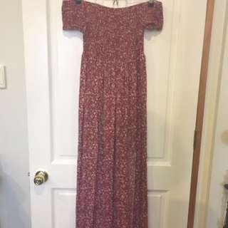 Red/Flowery off shoulder dress