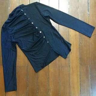 Black Long Sleeve Medium Turtleneck Blouse