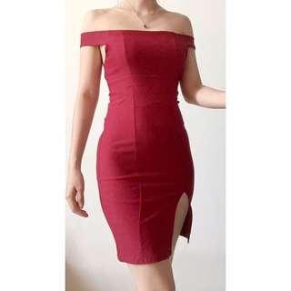 Maroon Sabrina Dress