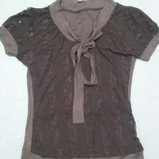 Lace See-through Brown Blouse