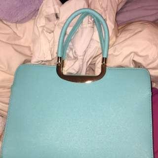 Blue Handbag With Detachable Strap