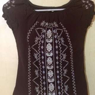 Embroidered Brown Blouse