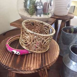 Gold and Pink Bangle