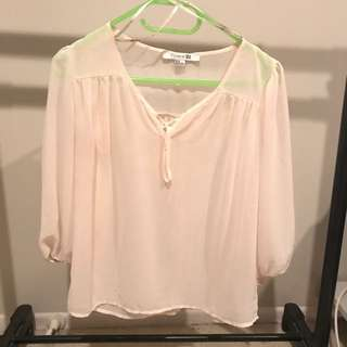 Beige Chiffon Blouse! Forever21
