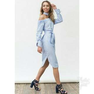 Blue Stripe Choker Dress