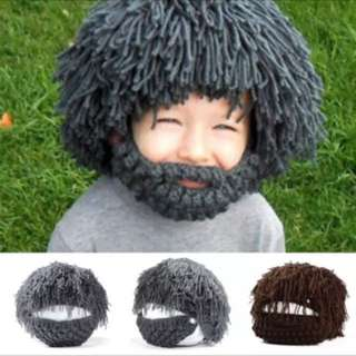 3509016f29f Wig Beard Hats Hobo Mad Scientist Rasta Caveman Handmade Winter Knit Warm  Men Women Caps Gift