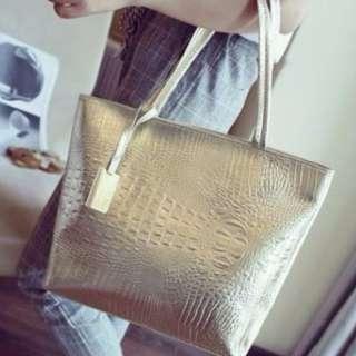 Korean Tote Bag Black and Silver