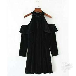 Black Velvet Cold Shoulder Dress