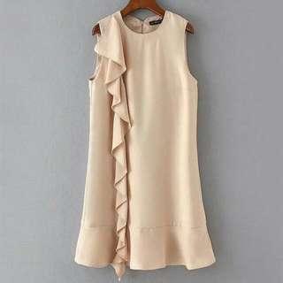 Nude Ruffle Dress