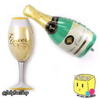 Champagne Bottle and Champagne Glass Balloon | Helium Filled | Balloons For Sale | My Jolly Box 98573128