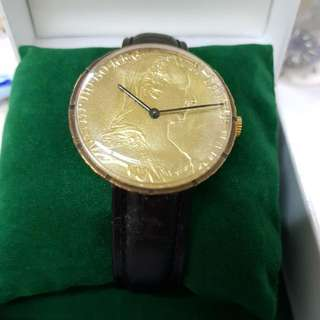 super rare 1960s unusual large genuine silver coin swiss made mechanical manual wind men's gold plated watch