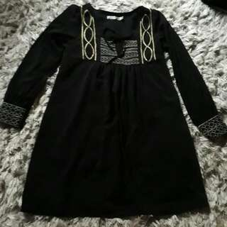 MinkPink Black Dress With Gold Lining Patterns
