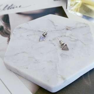 銀色立體三角耳環 925純銀耳針