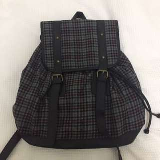 Checkered Grey Backpack