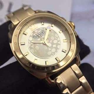 COACH Boyfriend's Watch Gold Plated Stainless Steel 14501534