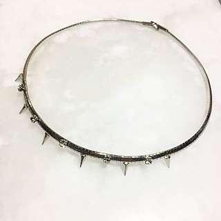 🚚 ✨銀色不銹鋼 白鑽 圓錐 個性 頸鍊.短項鍊