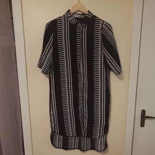Black & White Shirt Dress Size 10
