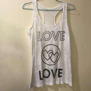 Forever 21 White Love Tank Top