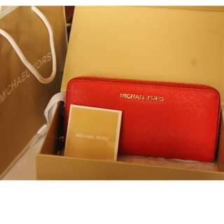 Michael Kors Jet Set Travel Dark Orange Zip Around Wallet