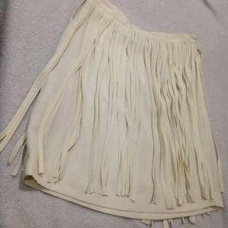 White Fringe-skirt