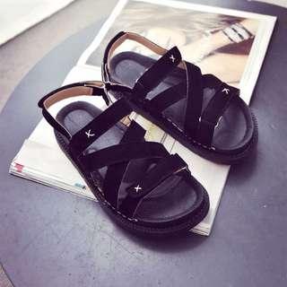 羅馬魔鬼氈厚底涼鞋-39號(黑色)