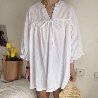 🚚 五分荷葉邊袖綁帶寬鬆連身裙