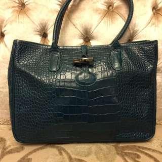 🈹Longchamp 綠色鱷魚紋手挽袋