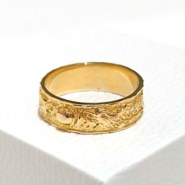 Gold Ring 18K Chinese Dragon Motif