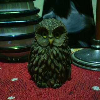 Vintage Russian Realistic Owl Marble Figurine