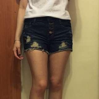 深藍排釦窄管牛仔短褲