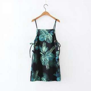 Green Leaves Strappy Dress