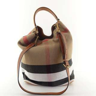 Authentic Burberry Canvas Check Medium Ashby In Saddle Brown Tote Bag