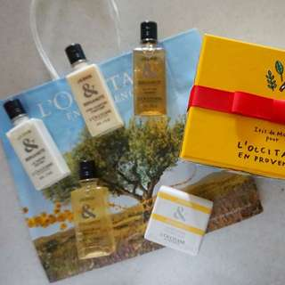 L'occitane Gift Set Travel Set + Gift Box + Paperbag