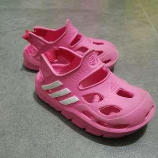 Adidas 粉紅色 膠涼鞋