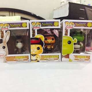 Shrek, Donkey and Puss in Boots funko Pop Set