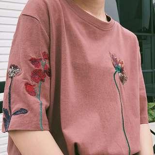 🌊3色/韓版刺繡復古t恤