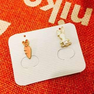 全新韓式兔仔蘿蔔造型耳環
