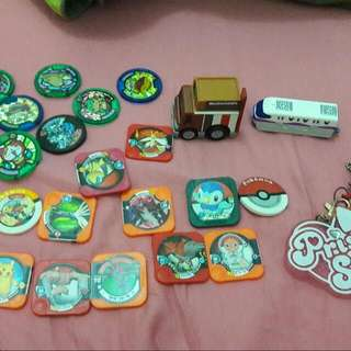Pokemon Chips,Yokai Watch Medals, Tomica Disney Train diecast and Mcdonalds Van