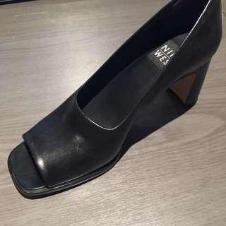 Nine West Open Toes Black Leather Heels