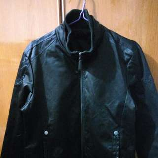 Black Leather Jacket Size L.
