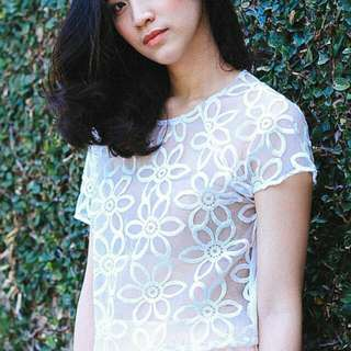 See Through Floral Cropped Top
