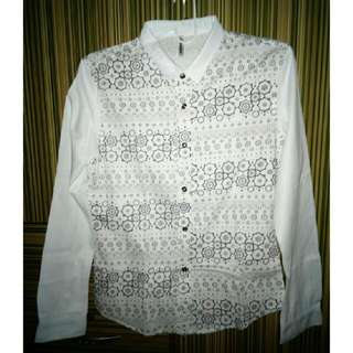 SALE! White Floral Long Sleeve Polo