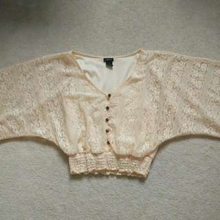 Beige Lace Shirt, Crop Top - Small