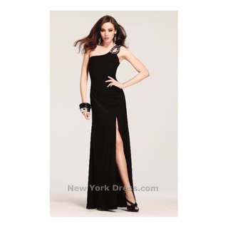 Faviana Sequin Fitted Black Gown Sz 4US