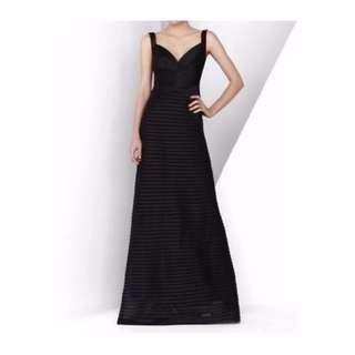 BCBG Max Azria Black Panel Gown Sz 4US