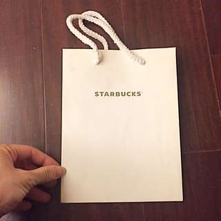 🚚 starbucks燙銀字白色紙袋